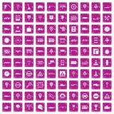 100 traffic icons set grunge pink. 100 traffic icons set in grunge style pink color isolated on white background vector illustration Royalty Free Stock Photos
