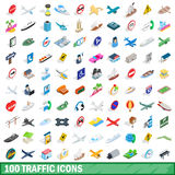 100 traffic icons set, isometric 3d style. 100 traffic icons set in isometric 3d style for any design vector illustration Royalty Free Stock Photography