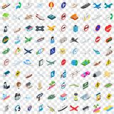 100 traffic icons set, isometric 3d style Stock Photos