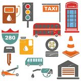 Traffic icons set. Traffic and metropolis icons in retro style Royalty Free Stock Image