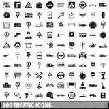 100 traffic icons set, simple style Royalty Free Stock Photos