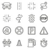 Traffic Icons Thin Line Vector Illustration Set Royalty Free Stock Photo
