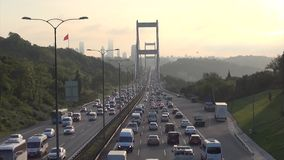 Daily traffic through II. Bosporus Bridge in Istanbul stock video footage