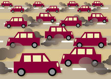 Traffic. A  illustration about traffic, commuting and pollution Royalty Free Stock Photo