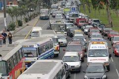 lima, peru: nightmare traffic jam stock photo