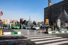 Traffic on Imam Khomeini square Stock Images
