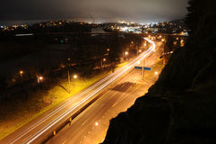 Traffic In A City At Night Time Stock Photos