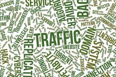 Traffic, conceptual word cloud for business, information technology or IT. Traffic, IT, information technology conceptual word cloud for for design wallpaper Stock Photography