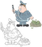 Traffic inspector. Highway patrolman with a bagful of money Stock Photos