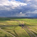 Traffic interchange aerial Royalty Free Stock Image