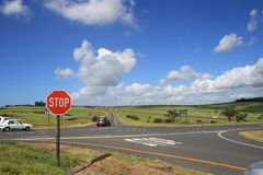 Traffic intersection. A traffic intersection on South african highway stock photography