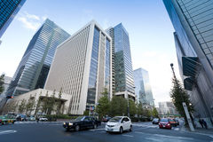 Traffic at an intersection in Chiyoda Ward. stock images