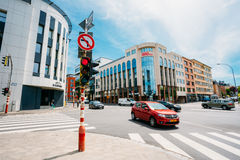 Traffic at the intersection Route d'Arlon in Luxembourg city Royalty Free Stock Images