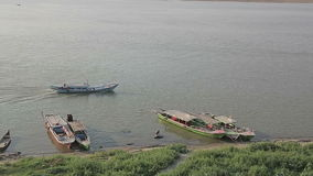 Traffic on the Irrawaddy River Royalty Free Stock Images