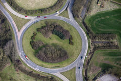 Traffic island aerial Royalty Free Stock Image