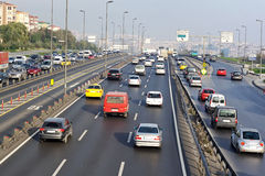 Traffic in Istanbul. Morning traffic in Istanbul on winter Royalty Free Stock Photography
