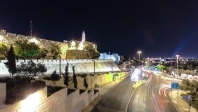 Traffic at Jaffa street and Tower of David at night timelapse hyperlapse. JERUSALEM, ISRAEL stock video footage