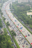 Traffic jam. In binhe road Shenzhen China Royalty Free Stock Photo
