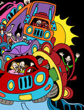 Traffic Jam. Cartoon of people driving on the highway Royalty Free Stock Photos