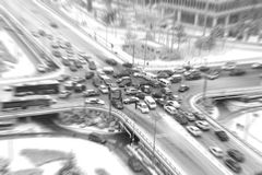 Traffic jam. At crossroad in rush hour, Beijing, China, with motion blur stock images