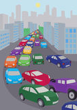 Traffic jam. An illustration of traffic jam with lots of colored cars stock illustration