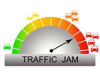 Traffic jam. High probability of a traffic jam and long waiting times during rush hour royalty free illustration