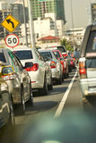 Traffic jam. In a rush hour in Bangkok Royalty Free Stock Images