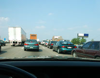 Traffic Jam. 5 lanes of traffic on northbound I-75 in Kentucky, USA, at a complete standstill during rush hour at 5 pm. It was sweltering hot, 96 degree end of royalty free stock photos