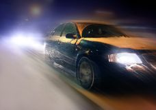 Traffic jam. And a snow storm, motion blur Royalty Free Stock Photography