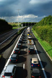 Traffic jam. Traffic jam during rush hour on a Belgian highway near sunset Stock Photography