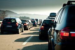 Traffic jam. Of cars on the way to ski vacation stock image