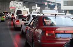 Traffic jam. In the city, China royalty free stock photos