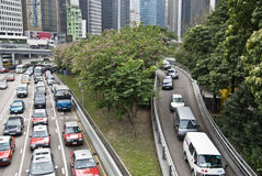 Traffic jam. In Hong Kong with the high rises in the background Stock Images