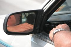 Traffic jam. Person waiting in his car during a traffic jam Royalty Free Stock Image