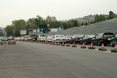 Traffic jam. Morning traffic jam on a road in Almaty Royalty Free Stock Images