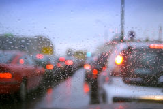 Traffic Jam. Out of focus cars with stop light Royalty Free Stock Photo
