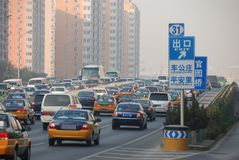 Traffic jam. In Beijing,China Stock Photo