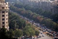 Traffic jam. A traffic jam on the Unirii boulevard Royalty Free Stock Photography