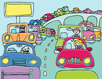 Traffic Jam. Cars stuck in a traffic jam stock illustration
