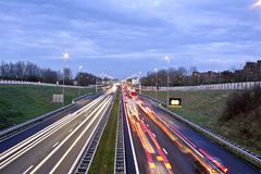 Traffic jam on the A9 near Amsterdam in Netherland. Traffic jam on the famous highway A9 near Amsterdam in the Netherlands at twilight Stock Photos