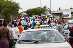 Traffic jam on an African street. When the pond is arriving at shore everyone is trying to leave the place at once. This is resulting in a big traffic jam Royalty Free Stock Photo