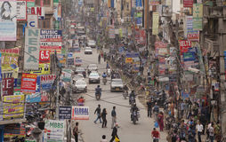 Traffic jam and air pollution in central Kathmandu Stock Image