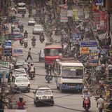 Traffic jam and air pollution in central Kathmandu Royalty Free Stock Photo