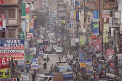 Traffic jam and air pollution in central Kathmandu Stock Photos