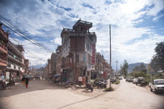 Traffic jam and air pollution in central Kathmandu Royalty Free Stock Photography