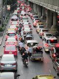 Traffic jam along a busy road near Victory Monument Stock Photo