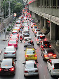 Traffic jam along a busy road near Victory Monument Stock Photography