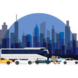 Traffic jam around town cars bus and motorcycle lining with high rise building as background. Vector Royalty Free Stock Images