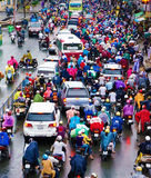 Traffic jam, Asia city,rush hour, rain day Stock Photo