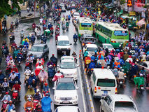 Traffic jam, Asia city,rush hour, rain day Stock Images